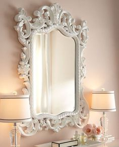 Stunning Brand New Cynthia Large Size French Chic Style Carved White Wall Mirror