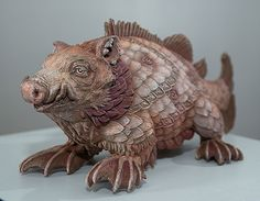Bailey Henderson Sculpts Fantastic Beasts Based Off Illustrations In Medieval Maps  - Cold cast bronze, powdered pigment, acrylic paint