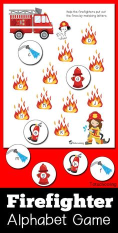 FREE printable Fire truck and firefighter themed letter matching game, perfect for a preschool fire safety and prevention week! Practice the alphabet and letter recognition in both uppercase and lowercase letters. Alphabet Activities, Preschool Activities, Preschool Printables, Kindergarten Activities, Preschool Fire Safety, Preschool Class, Toddler Preschool, Educational Activities, Letter Recognition