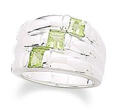 Three Row Peridot and Polished Band Ring 925 Sterling Silver