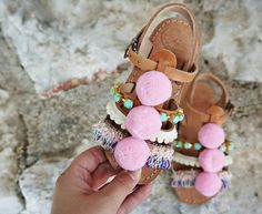 Pom Pom Carousel Gladiators Sandals Handmade strappy leather sandals with bohemian vibes for Kids and Baby girls (and for big girls too). Carousel