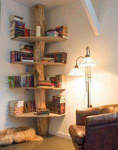 Great corner book shelf.