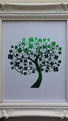 8x10 St Patrick's Day Lucky Tree Foil Print, $25.00