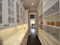 i like the idea of having a wall of shelves and one of cabinets and drawers with a fridge for hall pantry