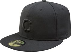 MLB Chicago Cubs Black on Black 59FIFTY Fitted Cap by New Era. $29.99. 59FIFTY fitted cap in fashion color. Officially licensed by Major League Baseball. 100% Wool. Embroidered Team logo in raised embroidery at front. 59FIFTY is the official on-field cap of Major League Baseball and is worn by every Major League Baseball player. With this fashion version of the 59FIFTY you can show your team pride with style.