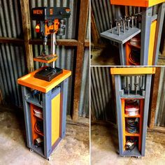 Rolling Drill Press Cart with additional storage for power sanders and pull-out forstner bit storage