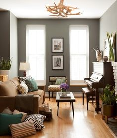 Going Gaga For Gray Walls.possible living room color, have the brown furniture and light wood floors - just need to add accent colors! Living Room Wood Floor, Living Room Paint, Living Room Colors, Living Room Grey, Home And Living, Living Room Decor, Small Living, Cozy Living, Living Rooms