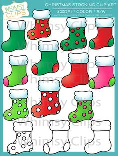This Christmas stocking clip art set contains 14 image files, which includes 11 color images and 3 black & white images in both png and jpg formats. All images are 300dpi for better scaling and printing.