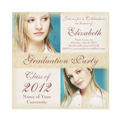 Elegant Graduation Party Invitation for a Young Woman. Grunge textures - Add your own photos.