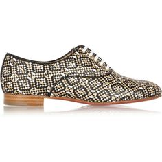 Christian Louboutin Fred metallic woven leather brogues (1.260 BRL) ❤ liked on Polyvore featuring shoes, oxfords, metallic, metallic oxfords, black lace up oxfords, lace up oxfords, black oxford shoes and wingtip shoes