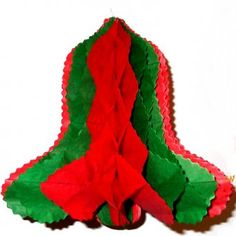 Red and Green Honeycomb Tissue Bell 10'' - Christmas Decoration Ideas