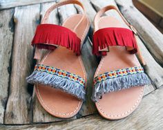 Greek Leather Sandals embellished with Red Suede by Chatawinna