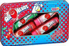 Air Heads Candy Flavored Lip Balm Gloss 4 Tube Tin Watermelon Cherry Strawberry