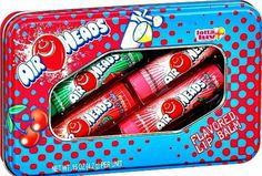 Air Heads Candy Flavored Lip Balm Gloss 4 Tube Tin Watermelon Cherry Strawberry