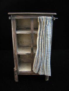 OOAK 1:12 Scale Dollhouse Miniature Primitive Cupboard With Curtain