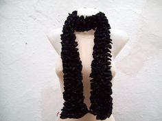 Soft Scarf   Black  Knit Scarf Fall Fashion Frilly scarf by nurlu, $22.00