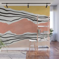 Modern irregular Stripes 01 Wall Mural by vivigonzalezart Wall Design, House Design, Interior And Exterior, Interior Design, Striped Walls, Cool Walls, Home Remodeling, Sweet Home, New Homes