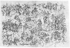 Die Große Schlacht. An early historic Illustration. Shortly after 1433. Copper engraving. Colleccion Rothschild, Louvre Paris.