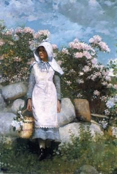 """Girl and Laurel"" by Winslow Homer."