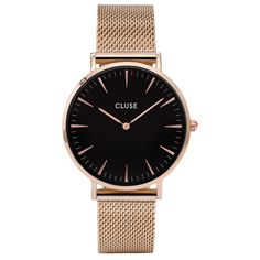 Minuit Black Face & Rose Gold Mesh Watch ($110) ❤ liked on Polyvore featuring jewelry, watches, black dial watches, white watches, pink gold jewelry, mesh watches and red gold jewelry