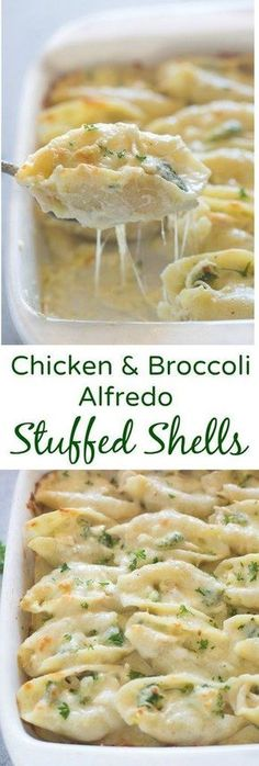 Chicken and Broccoli Alfredo Stuffed Shells include tender pasta shells filled with a cheesy shredded chicken and broccoli mixture and smothered in an easy homemade alfredo sauce. | tastesbetterfromscratch.com via @betrfromscratch #food