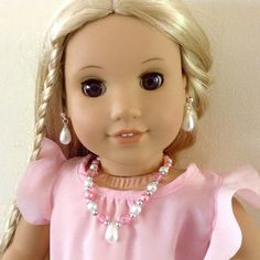 "White and pink faux pearl three piece jewelry set for American Girl and other 18"" dolls by BFFandMEJewelry on Etsy"