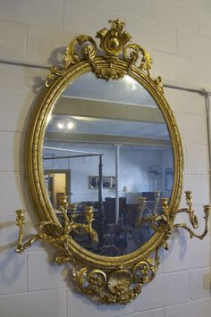 Holly Hock Farm Antiques: 18th century gilded mirror with candleabras