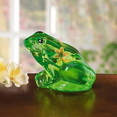 Fenton Lily The Little Green Frog Art Glass Figurine by Lenox . I have them all.
