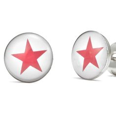 Unique Red Star Stainless Steel Men's Stud Earrings Red White | RnBJewellery