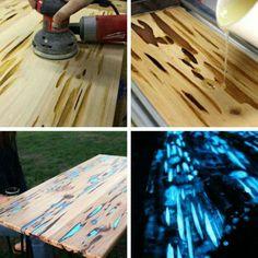 Glowing rustic wood table