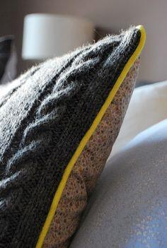 TUTO pour realiser coussin bi matière (torsades laine et tissu) avec passepoil