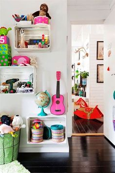 26 Cool and Colorful Ways to Organize Your Kids Room via Brit + Co