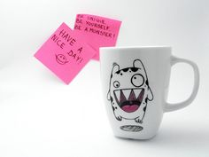 """Scary gifts at Dawanda - Ilario is a cute white monster covered in black polka dots. He is always happy. He loves jumping and he loves coffee! - via en.dawanda.com  All he wants is say you """"Good morning!"""" every day."""