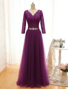 Purple Elegant Long Sleeve Evening Dresses New Long V Neck Formal Prom Dress