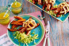 Hack-Würstchen-Schildkröten mit Salat und Süßkartoffel-Fritten Rezept | LECKER