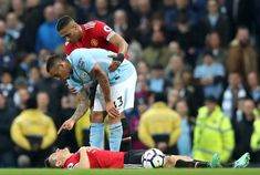 Gabriel Jesus of Manchester City confronts Ander Herrera of Manchester United during the Premier League match between Manchester City and Manchester United at Etihad Stadium on April 2018 in. Manchester City, Manchester United, Premier League Matches, Gabriel, The Unit, Football, Soccer, Archangel Gabriel, Futbol