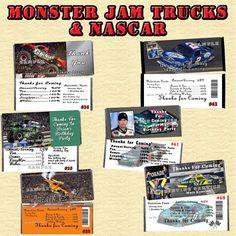 Monster Jam Truck & Nascar Birthday Candy Wrappers 10 ea Personalized #Personalized #BirthdayChild
