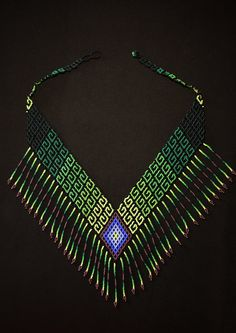 Tribal High Fashion V Necklace, Boho Necklace, Native American Beaded Necklace, Purple and Green Geometric Necklace, Tribal Necklace Geometric Necklace, Tribal Necklace, Fringe Necklace, Soutache Jewelry, Beaded Earrings, Beaded Jewelry Patterns, Native American Beading, Seed Bead Necklace, Beads And Wire