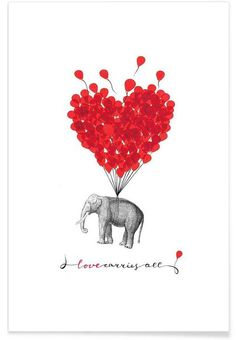 Love carries all - elephant als Premium Poster