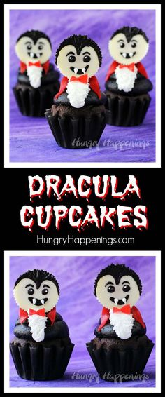 Top a chocolate cupcake with a big swirl of chocolate frosting and a white Reese's Cup vampire. These Dracula Cupcakes are frighteningly cute for Halloween. - from hungryhappenings.com