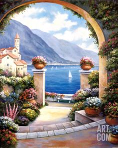 Mediterranian Archway By John Zaccheo Canvas Art - Painting Style Mediterranean Paintings, Stone Archway, Murals Your Way, Canvas Artwork, Metal Wall Art, Colorful Flowers, Trip Planning, Landscape Paintings, Wall Murals