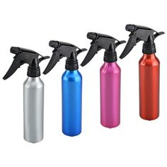 Multipurpose aluminum spray bottles are great for use in cleaning, hair salons, watering plants, and more! Each bottle has an adjustable spray nozzle and comes in a variety of metallic colors. Case in Dollar Tree Store, Dollar Stores, Hairdressing Courses, Spray Bottle, Water Bottle, Essential Oils Room Spray, Florist Supplies, Metallic Colors, Body Spray
