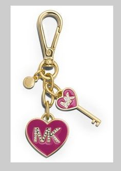 Michael Kors Boxed MK Enamel Heart Key Fob/Hang Tag