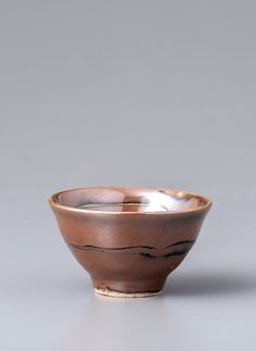 "Yoshinori Hagiwara, Sake cup, kaki glaze with wax resist decoration, Stoneware, 1.5 x 3 x 3"", YH465"