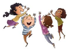 Group of children of different ethnicities jumping on isolated background - Dibustock, Ilustraciones infantiles de Stock Web Design, Editable, Ethnic, Disney Characters, Fictional Characters, Infant, Childhood, Cartoon, Disney Princess