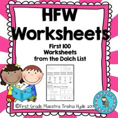 Dolch List High Frequency Words First 100 Words Worksheets. First Grade Sight Words, Second Grade, Dolch List, Beginning Of Kindergarten, High Frequency Words, 100 Words, Small Groups, Worksheets, The 100