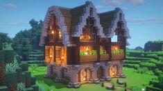 Minecraft Building Guide, Minecraft House Plans, Minecraft Cottage, Cute Minecraft Houses, Minecraft Houses Survival, Minecraft House Tutorials, Minecraft Castle, Minecraft Houses Blueprints, Minecraft House Designs