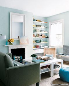 Small-Space Makeover - Martha Stewart Home & Garden Simple Living Room, Small Space Living, Home Living Room, Apartment Living, Living Room Designs, Small Spaces, Living Room Decor, Living Spaces, Apartment Therapy