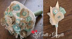 Trilli e Gingilli - Le creazioni di Sara: Bouquet Tiffany e avorio, modello vintage realizzato con fogli di vecchi libri.