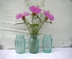 Set of 3 Clear Vintage Glass Bottles. Soviet by MissFreesia